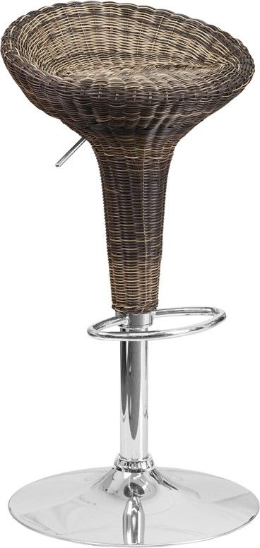 Contemporary Wicker Adjustable Height Barstool With Chrome Base   Contemporaryu2026