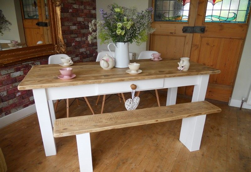 6ft Painted Farmhouse Table 1x Standard Bench Painted Legs 3x White Style  Eames Chairs