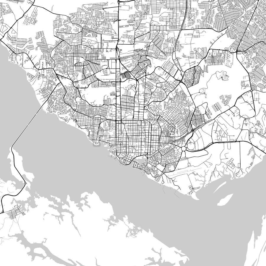 Manaus, Amazonas, downtown map, light | Map it | Pinterest | Map ...