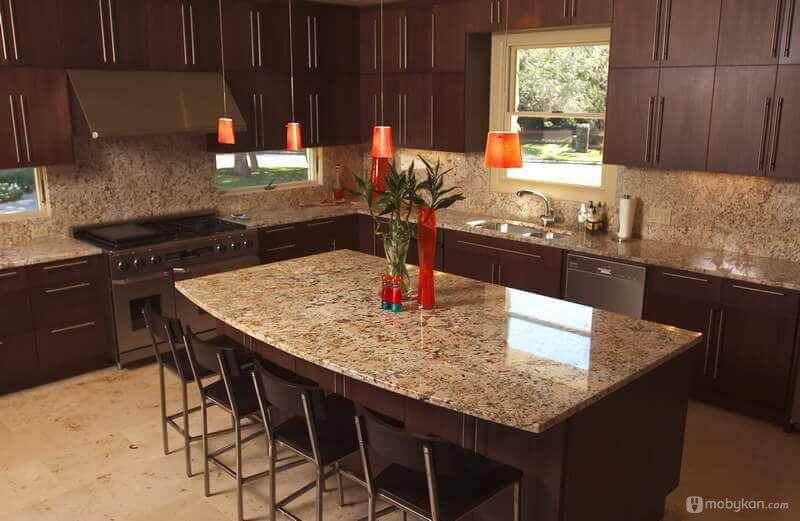 صور مطابخ حديثه و اشكال مطابخ مودرن و مميزه من موبيكان Granite Countertops Kitchen Countertop Design Kitchen Backsplash Designs