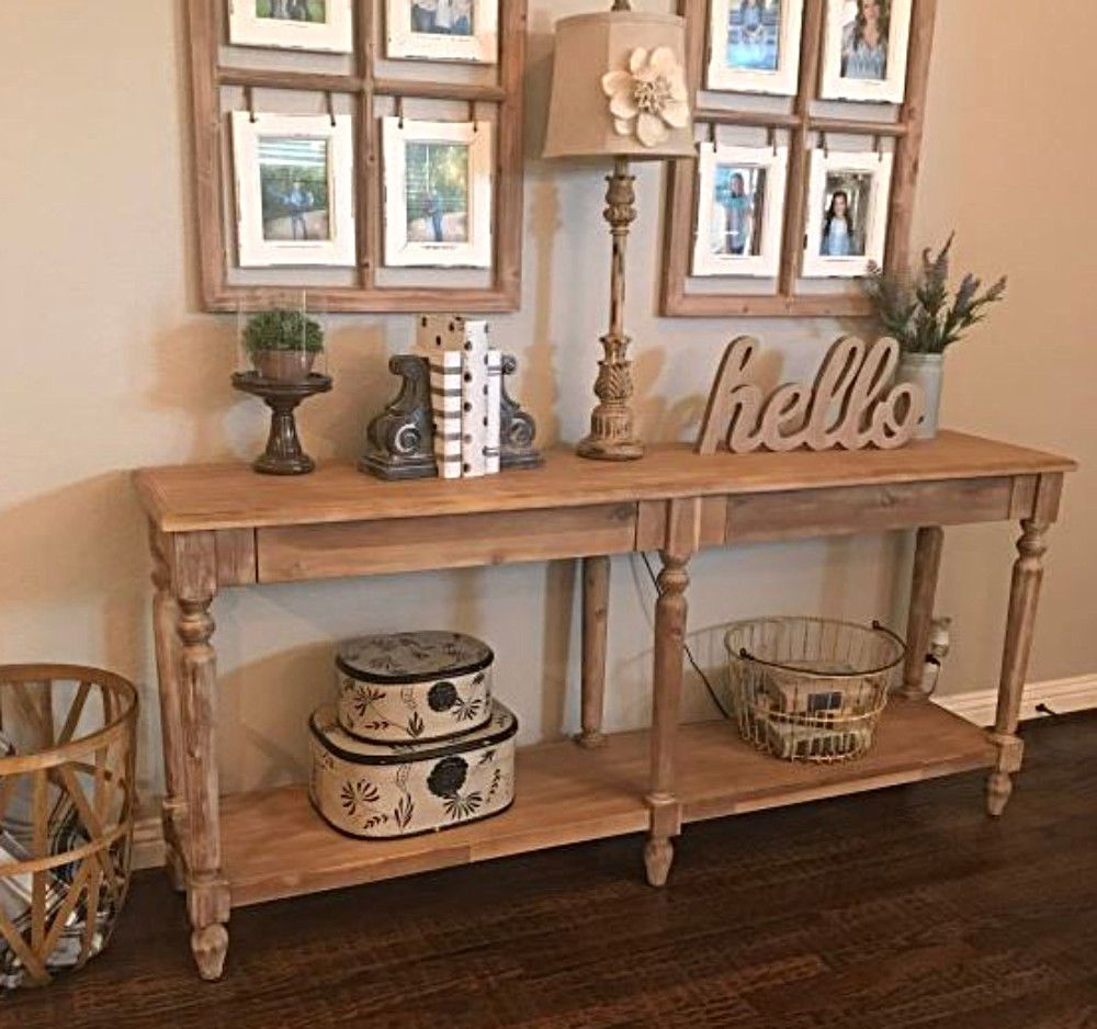 Our Everett Foyer Table Impresses With A Victorian Inspired Architectural Style Two Hidden Drawers And A Lower Shelf P Sofa Table Decor Foyer Decorating Decor
