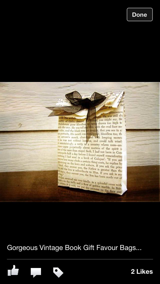 Vintage gift bags using book pages