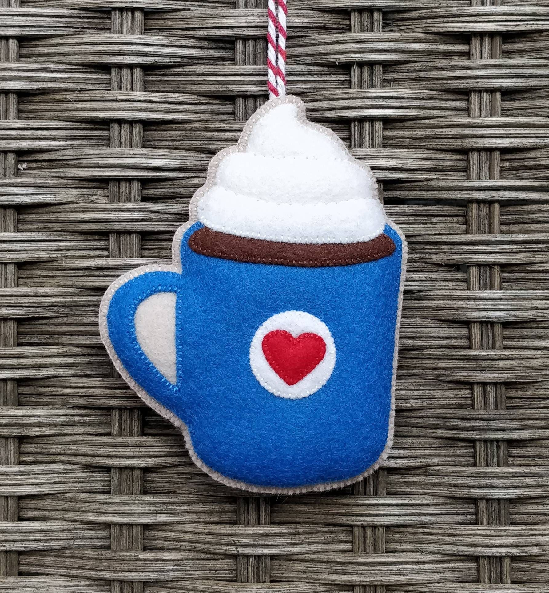 Felt hot chocolate ornament christmas cocoa decoration
