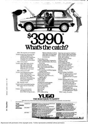 Classic car and dealership ads in | Auto: Yugo | Car