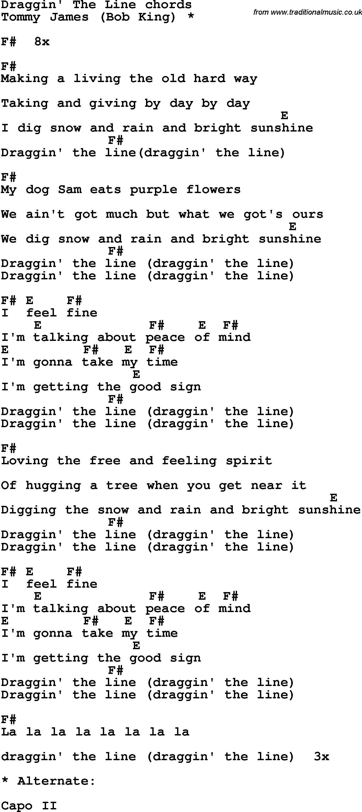 Song Lyrics With Guitar Chords For Dragging Line Guitar
