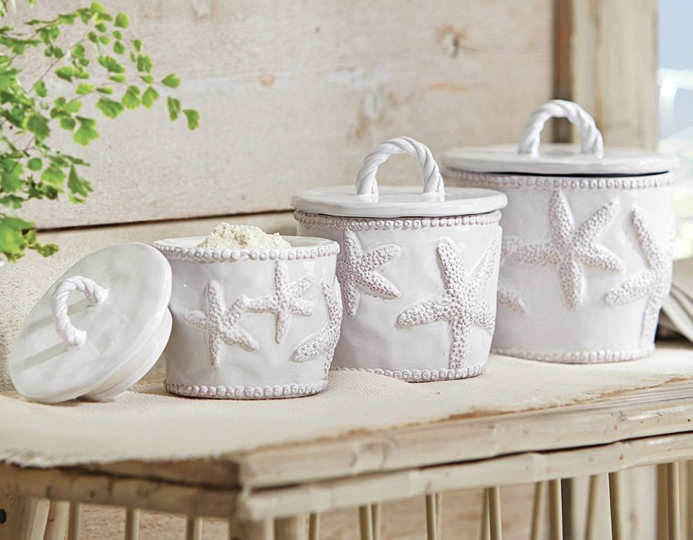 Mud Pie White Kitchen Canisters