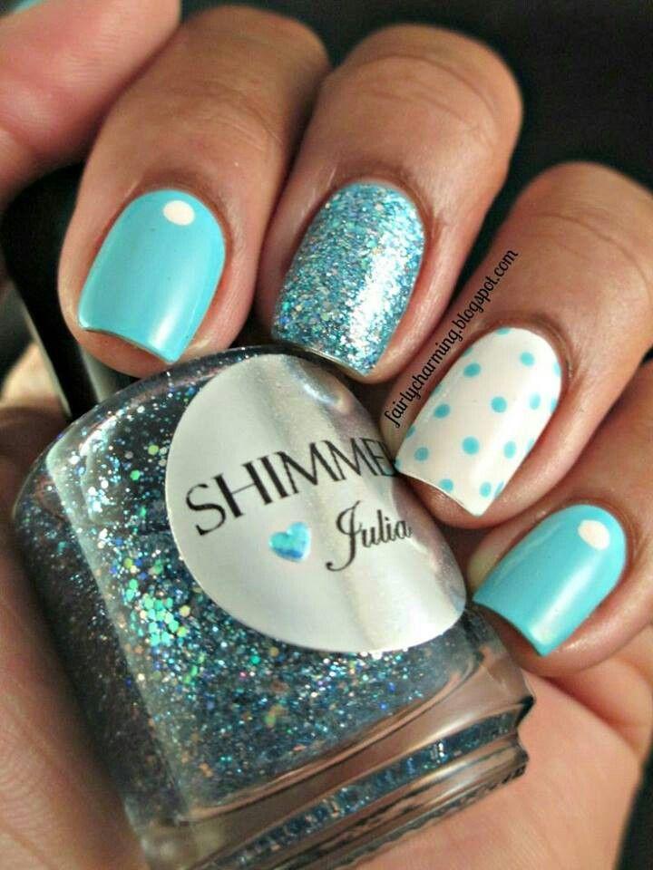 Azul Celeste Manicura De Uñas Uñas Azules Y Uñas De Gel