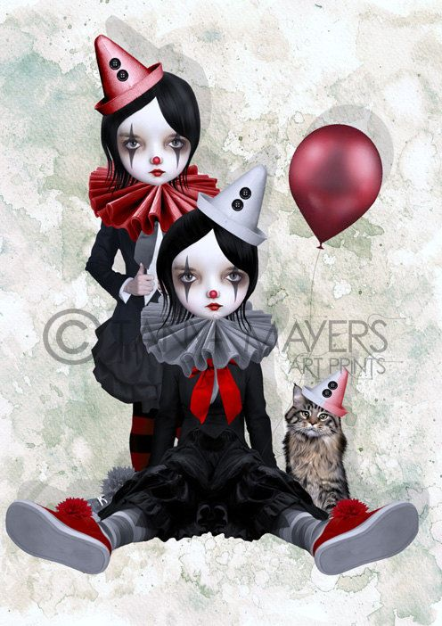 Clown Art Print - Big Eyed Girls & Cat - Trio