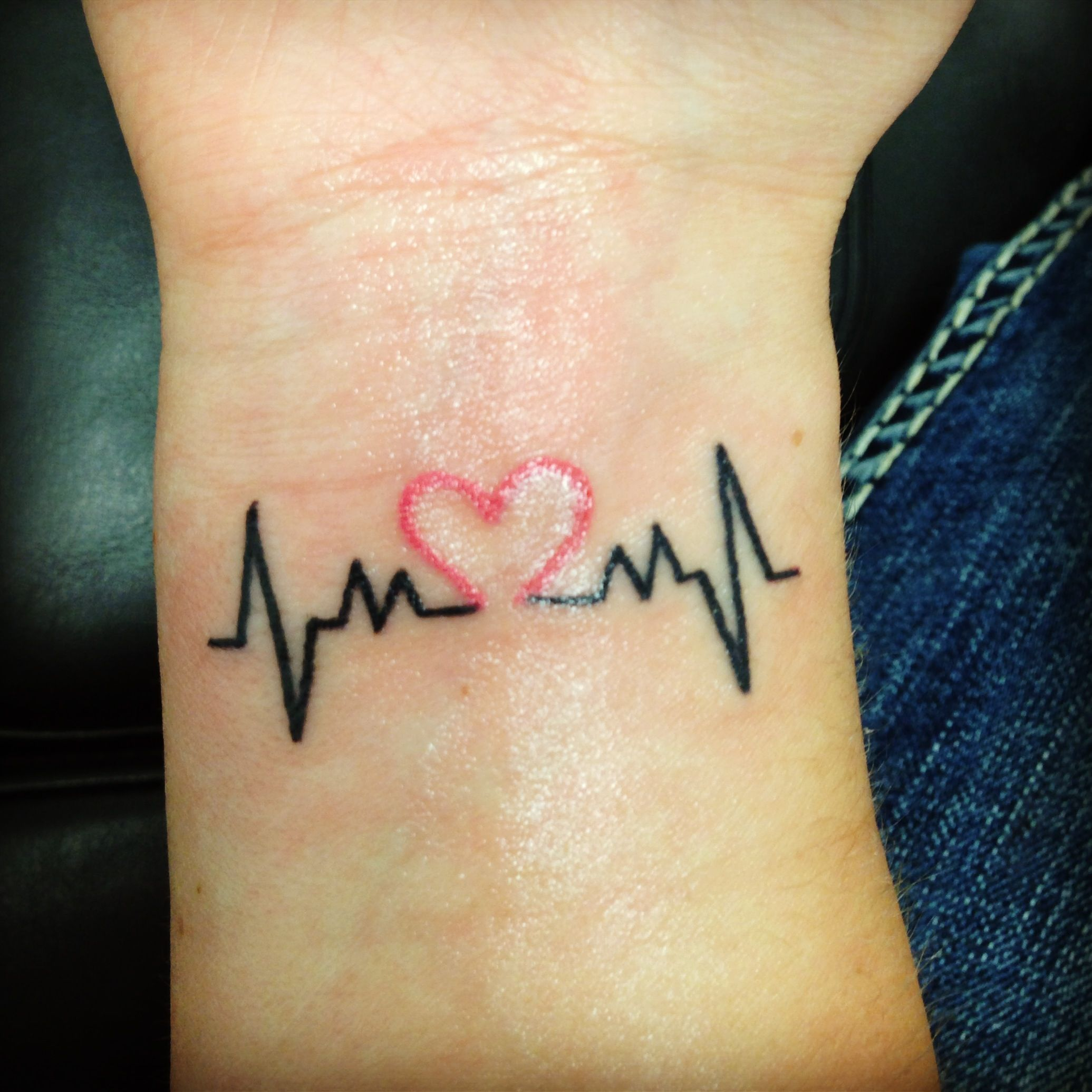 First tattoo with heart beat Tattoo designs wrist, Cute