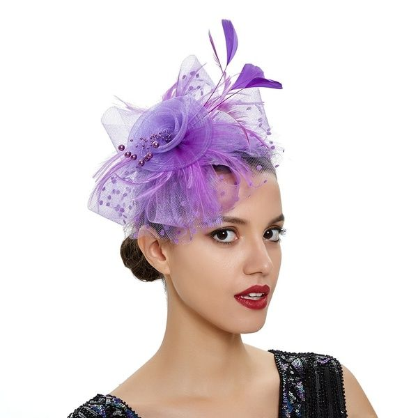 Lady Beaded Mesh Feather Fascinator Headband Kentucky Derby Cocktail Tea Party Headwear | Wish