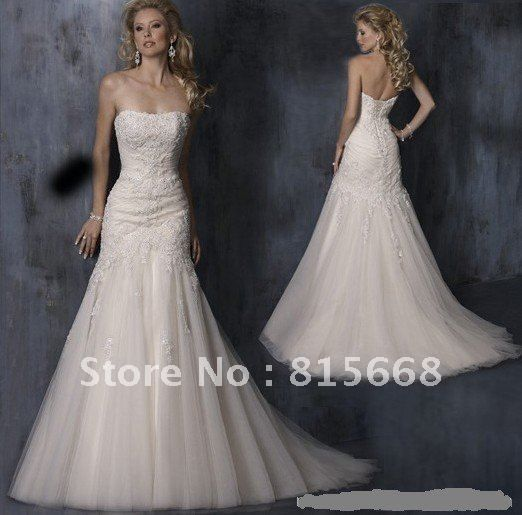 Free shipping Strapless lace-up Back wedding dress wedding gown Ivory champagne white