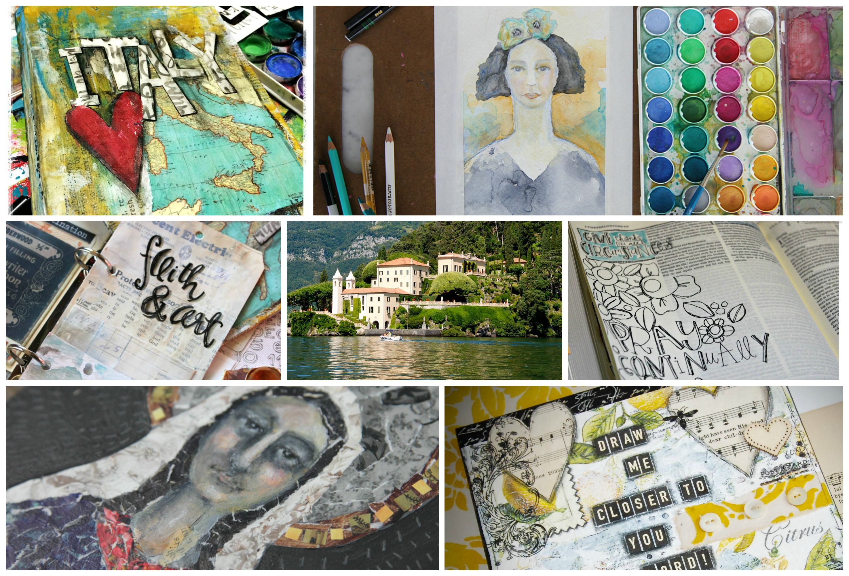 Here's a SNEAK of the classes at this years Art & Faith Creative Retreat in Italy July 11 - 18th, 2015!  If you want to join us for the local classes you can check them out on my website later this week!  Creative Retreat Bellagio Italy Bible Journaling Illustrated Faith Stephanie Ackerman Jeanne Oliver