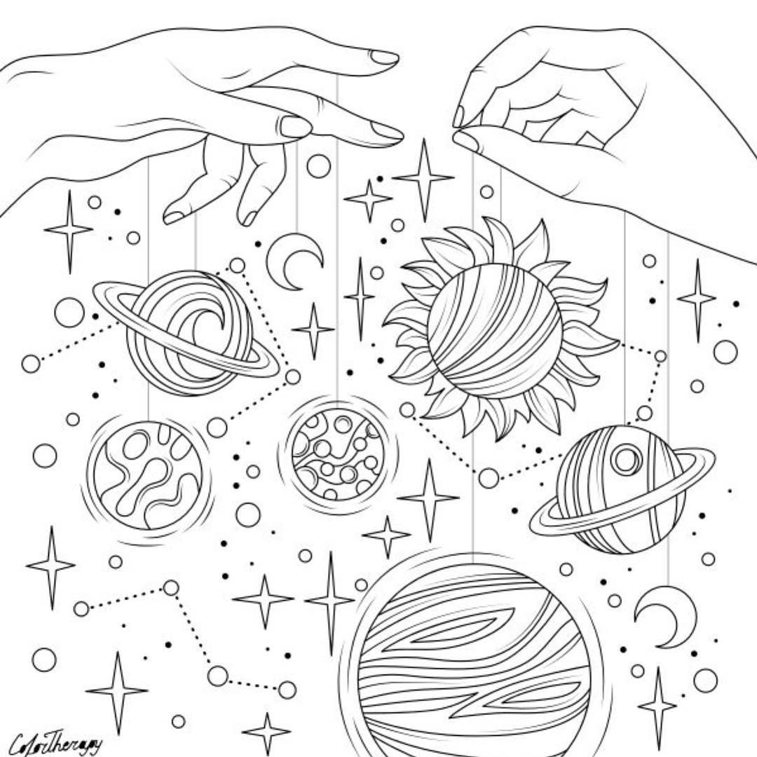 Star Coloring Pages Planet Coloring Pages Adult Coloring Page