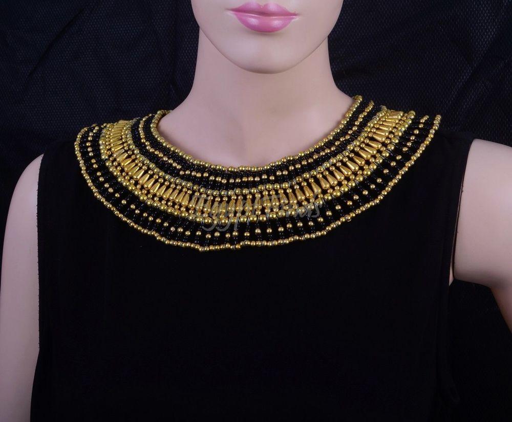 Amazing Egyptian Hand Made Blacku0026Gold Cleopatra Necklace Halloween Costume SALE & Amazing Egyptian Hand Made Blacku0026Gold Cleopatra Necklace Halloween ...