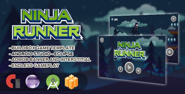 Ninja Runner - Android Studio + Eclipse + Buildbox Template