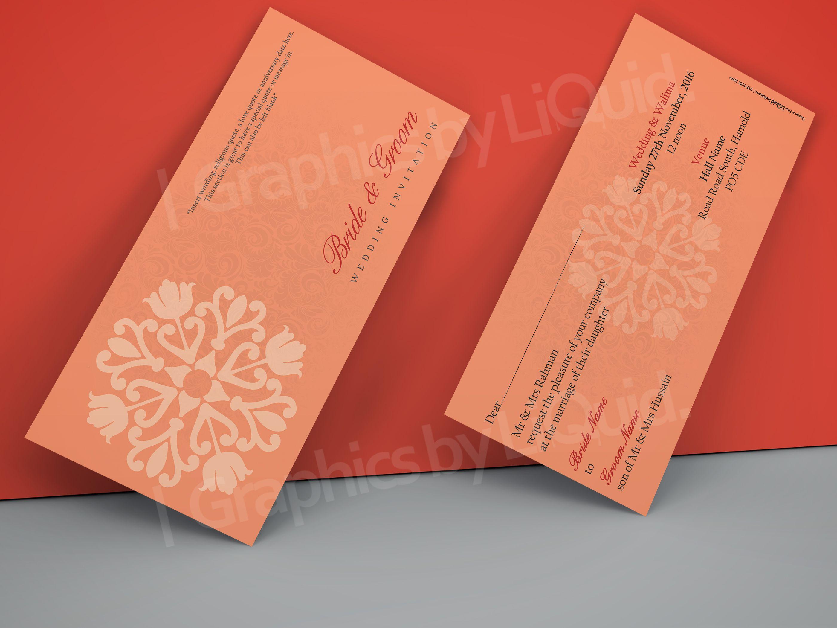 Salmon Orange & Red DL Wedding Invitation Card QDL32 | Wedding ...
