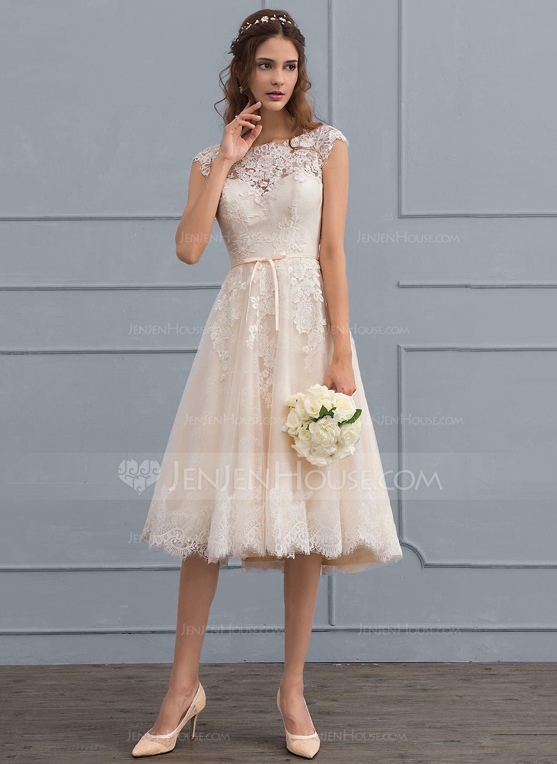 8d5559d4e65 A-Line Princess Scoop Neck Knee-Length Tulle Lace Wedding Dress With Bow(s)  (002117037) - JenJenHouse