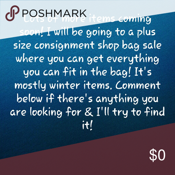 New items coming soon! What would you like? I'm going to be listing a ton of new items soon that I'm trying to organize, measure & take pictures.  On February 17th,  I will be going to a huge sale at a plus size clothing consignment shop. They're getting rid of the winter items to make room for spring clothes.  Please comment below if there's anything you would like me to look for & what sizes. I'll do my best, but last year when I went it was a room of 20-30 women all trying to shop at once…