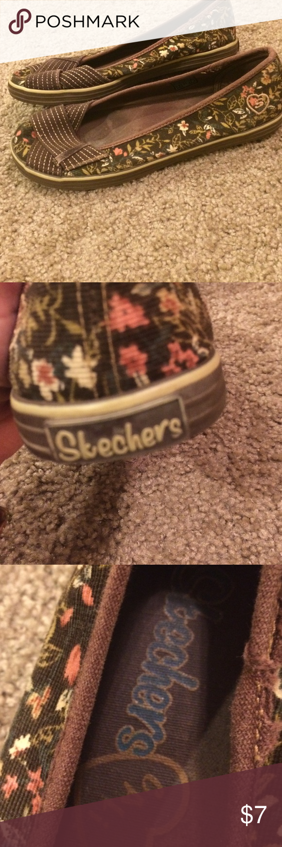 Skechers Cali shoes The upper sole of these shoes have a pretty floral design. They are corduroy on the upper sole. They are still in great condition Skechers Shoes Flats & Loafers