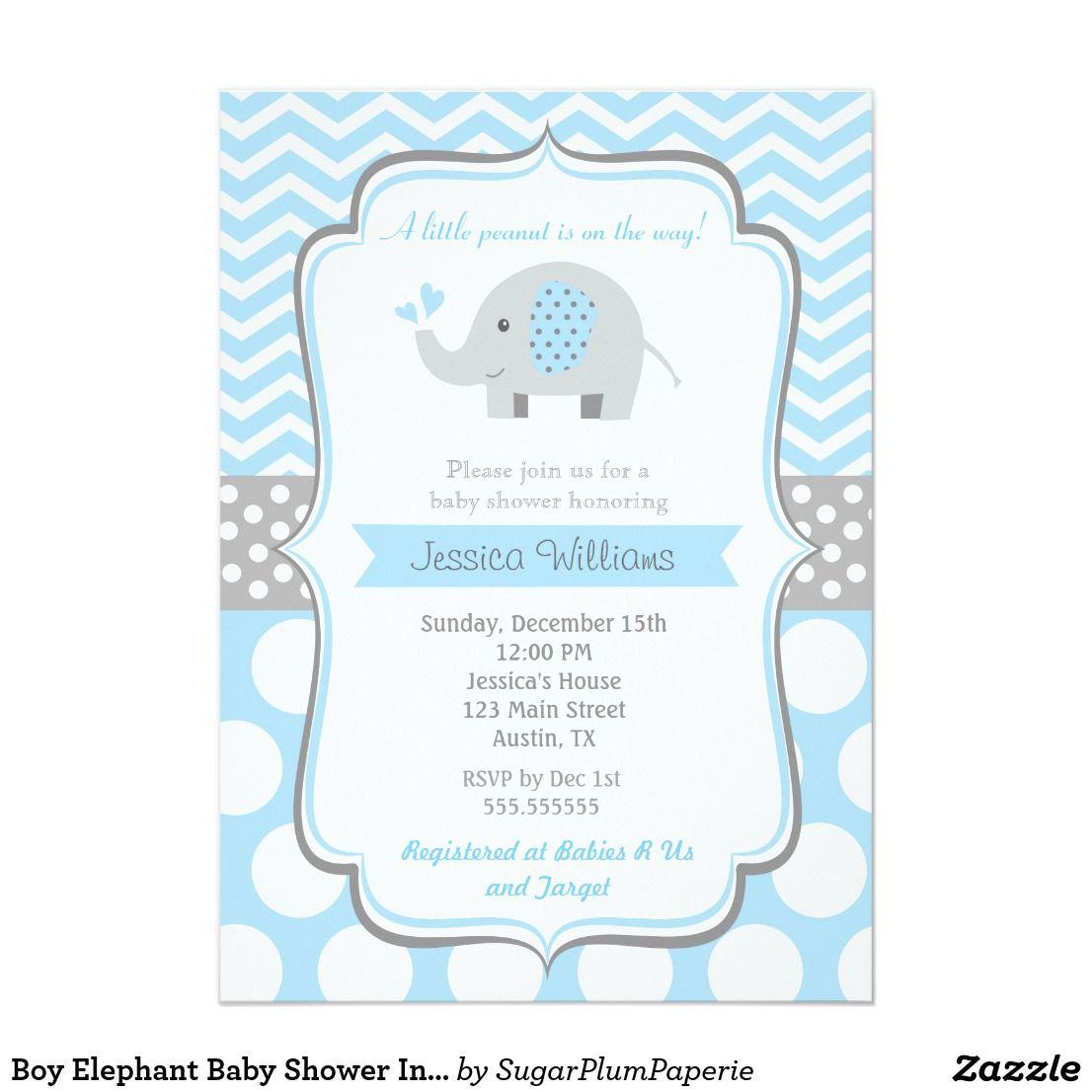 Boy elephant baby shower invitations elephant baby boy theme baby baby shower boy elephant blue gray chevron polka dot adorable personalized baby shower invite announcement invitations card elephant baby invitations filmwisefo