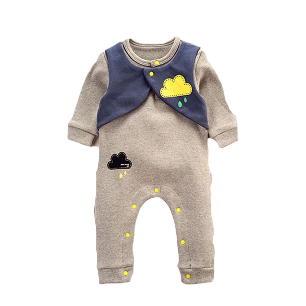 f9f586957ff8 Baby Infant Toddlers Long Sleeve Cloud Print Rompers Jumpsuit Girls ...