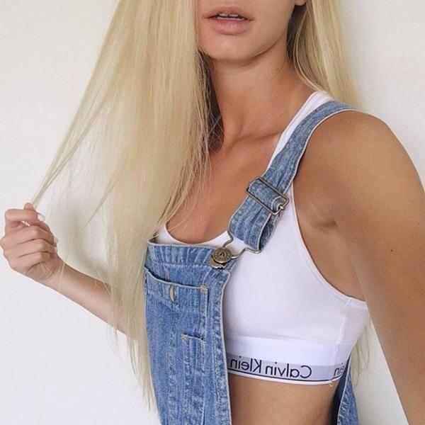 22bba56483d7 Fashion - Blue Denim Overalls   White Calvin Klein Bra Top