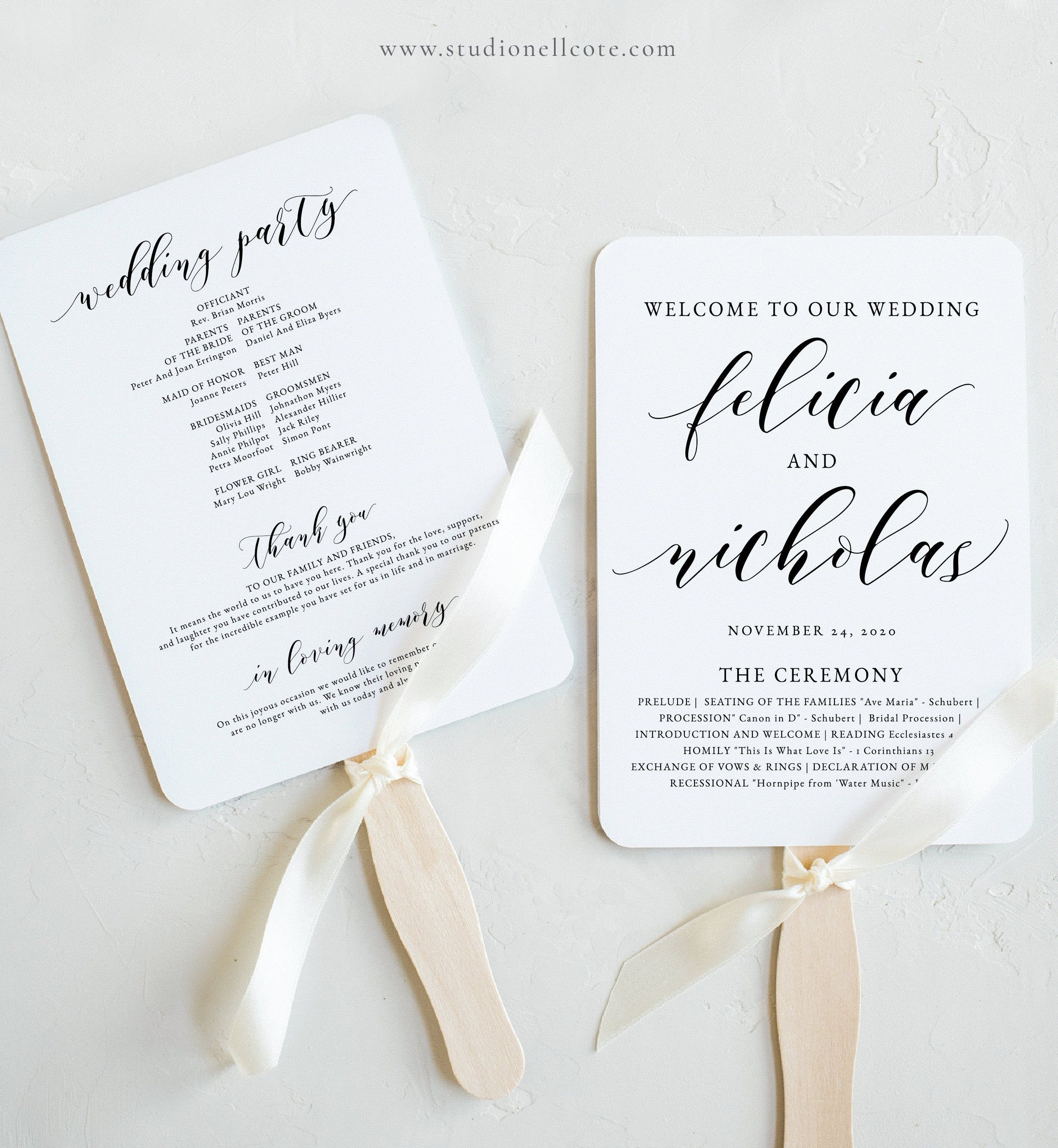 Wedding Program Fan Wedding Program Templett Program Ceremony Etsy In 2020 Wedding Templates Printable Wedding Fans Wedding Program Fans