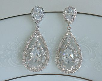 Crystal Wedding Earrings Bridal Jewelry Large Teardrop Chanlier