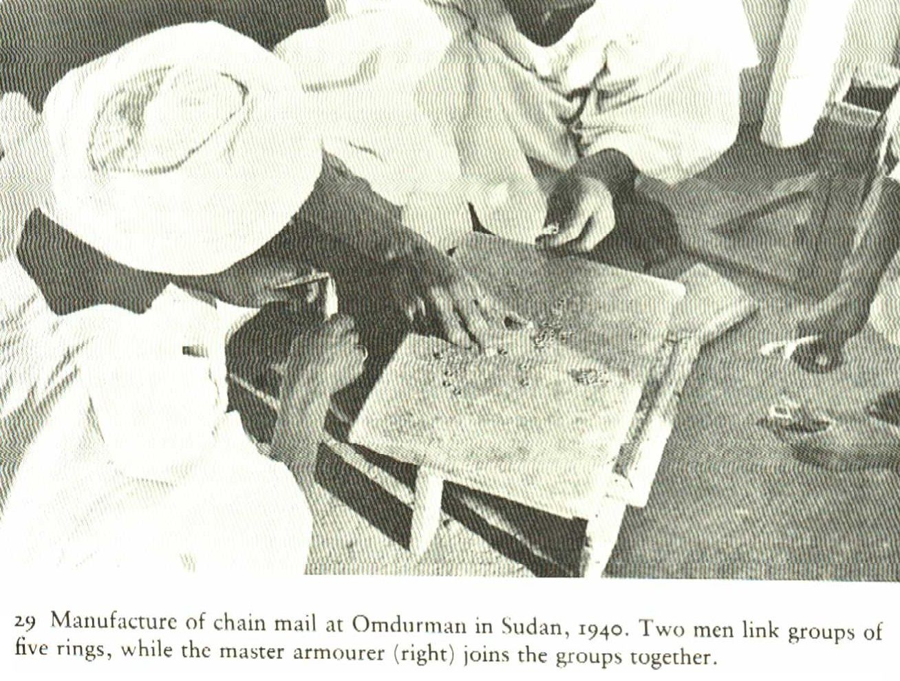 Did Medieval Nubians imported their chainmail or did they built it on their own? We dont know, but atleast this old photo from the 1940's shows habitants of Khartoum manufacturing such an armour for parade purposes.  Khartoum is only around 30 miles north of Soba, where the medieval chainmail fragments have been found.