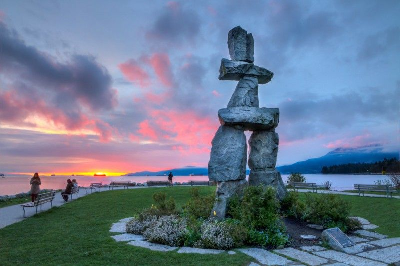 """""""An Inuksuk is a stone landmark built by the Inuit people, usually along the coastline. No one is sure about the origins of this one, but it is thought to be a reference point or landmark. This was my last stop on my jog around Stanley Park"""", says the photographer, Jason Mrachina."""