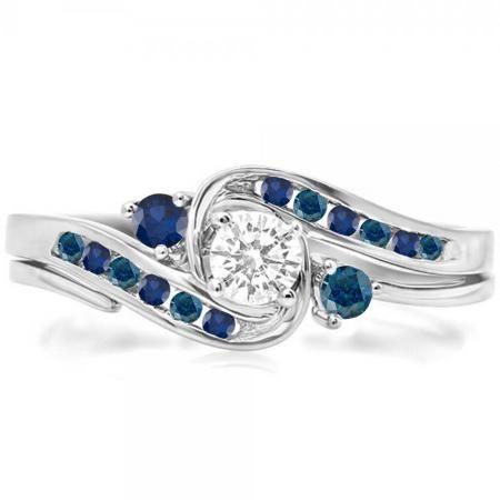 0 50 Carat Ctw 14k White Gold Round Blue White Diamond Blue Sapphire Ladies Swirl Bridal Engagement Ring Set 1 2 Ct Dazzling Rock In 2020 Engagement Ring Settings White Gold Blue Sapphire