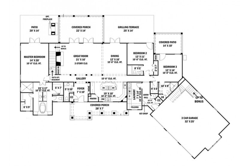 Home Plan HOMEPW75891 - 2498 Square Foot, 3 Bedroom 3 Bathroom - new blueprint for 3 car garage