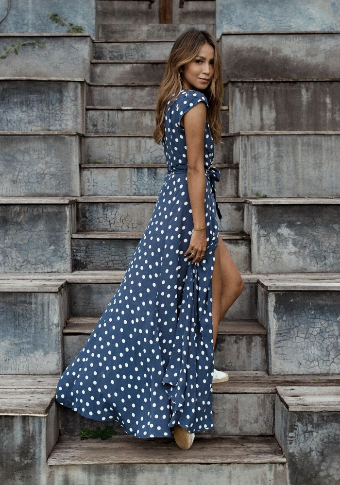 2e816478af Bali Bali -- Navy polka dot maxi with a hi low hem and high slit. Turning  fashionable to fabulous. Pt. 2 – Sincerely Jules