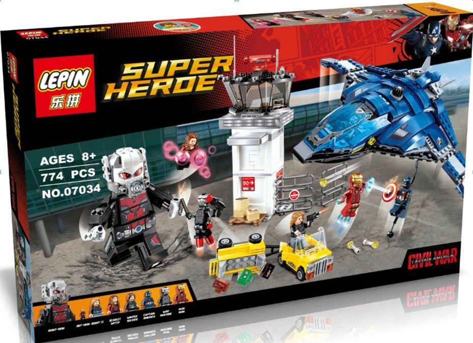 (Buy here: http://appdeal.ru/pt1 ) LEPIN 07034 774Pcs Avengers Super Hero Airport Battle Model Building Kit Minifigure Ant-Man Iron Man Blocks Toy Birthday for just US $39.55