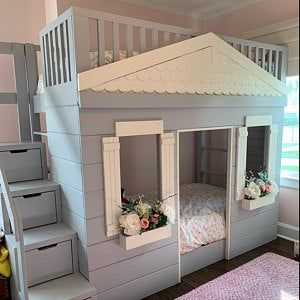Photo of Solid wood reading nook bed with drawers toddler bed cot with bookshelves