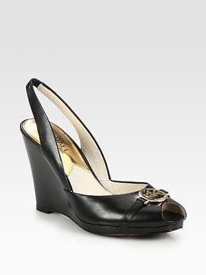 9e5d48ae186 MICHAEL MICHAEL KORS - Rochelle Slingback Peep Toe Wedge Pumps - Saks.com
