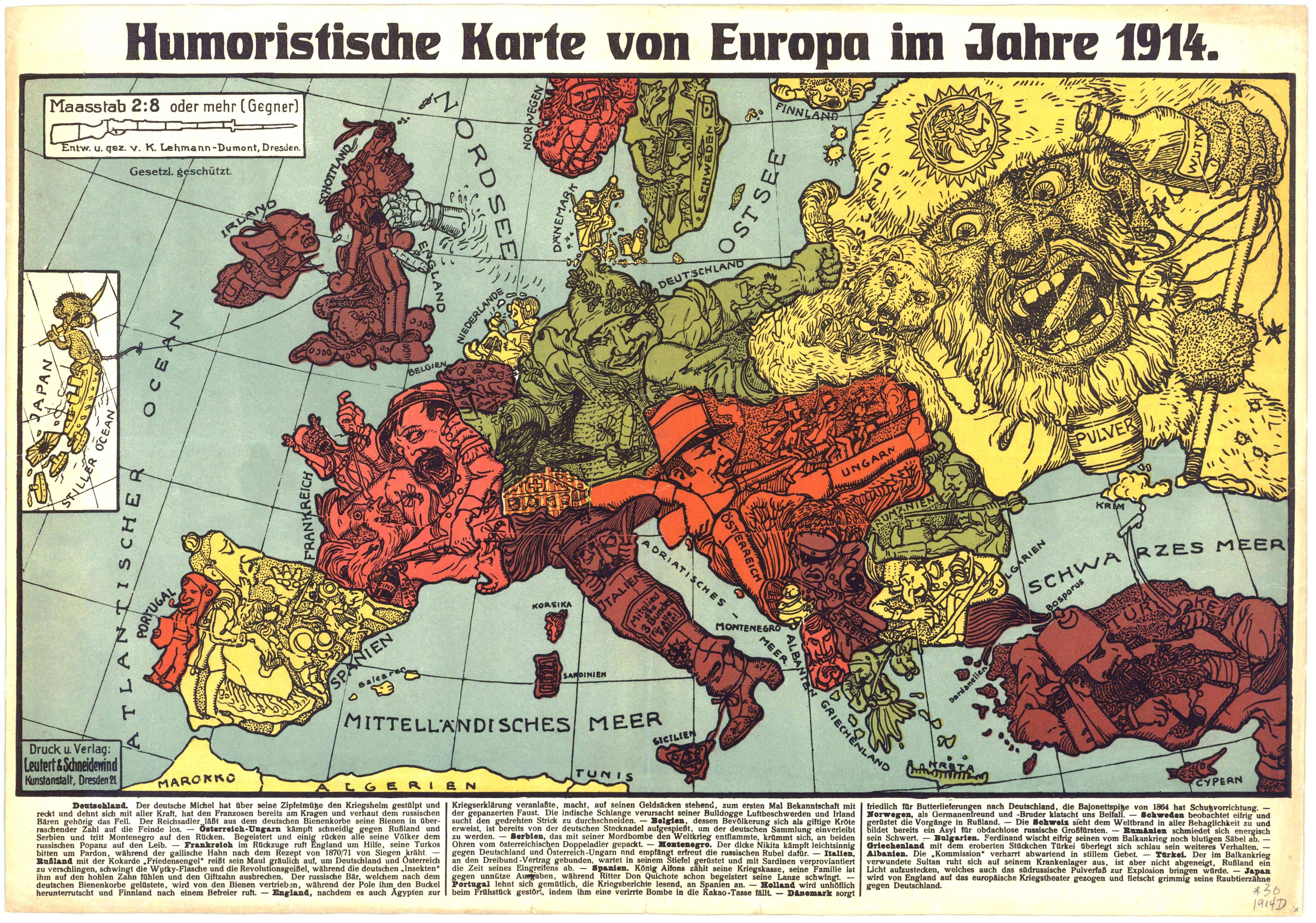 Humoristische Karte Von Europa Im Jahre 1914 Hires Map Europe