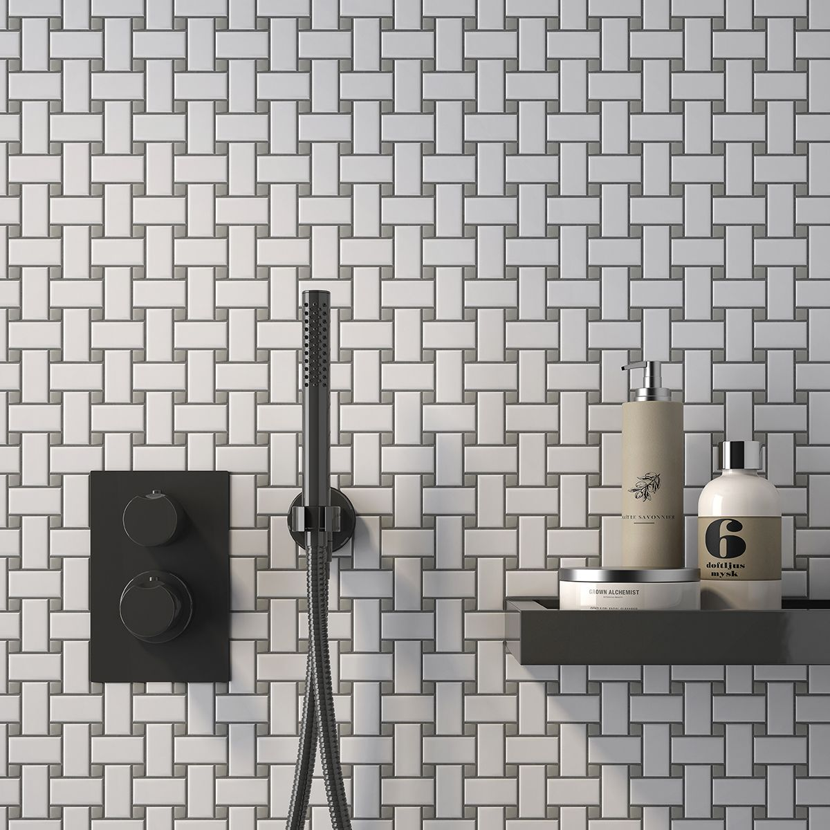 White Matte with Gray Dot - CC Mosaics Collection. Ceramic Tiles by ...
