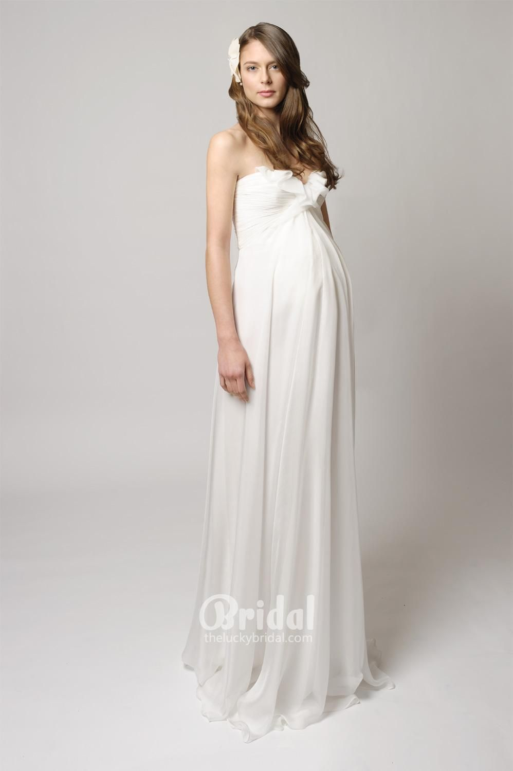 Strapless ruched chiffon maternity bridal dress with front ruffle strapless ruched chiffon maternity bridal dress with front ruffle neckline ombrellifo Image collections