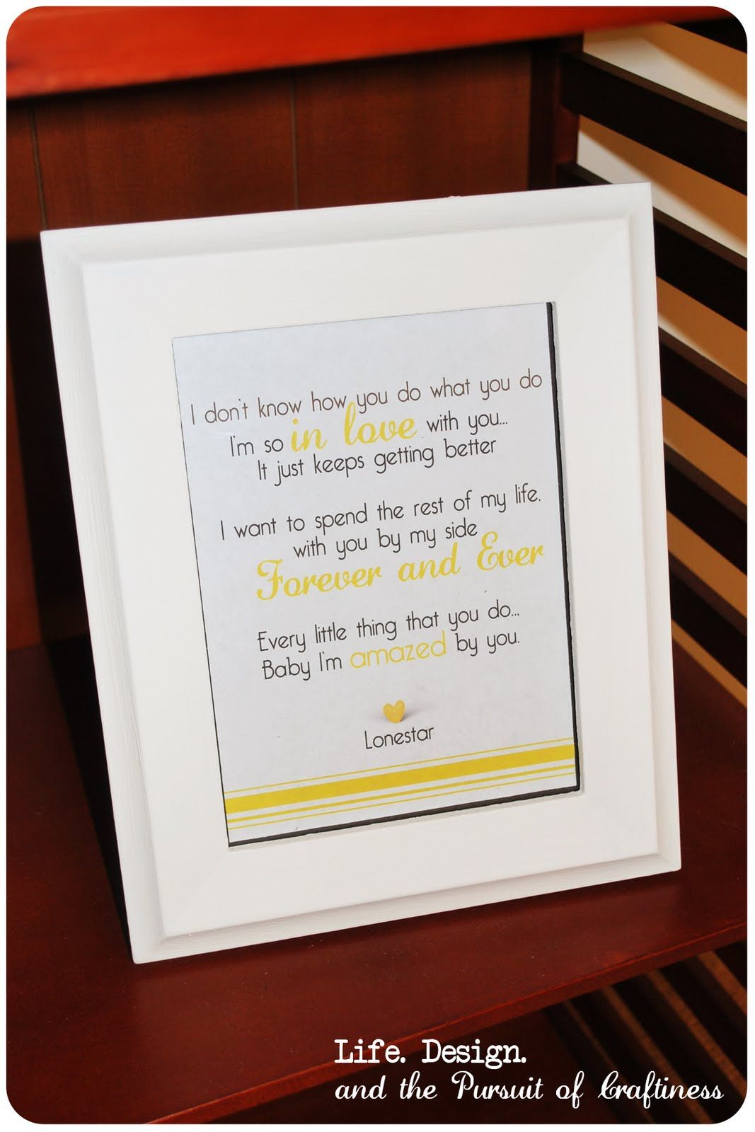 Cute idea: Frame the lyrics to your first dance song from your ...