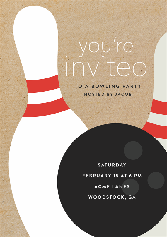 bowling party invitations in brown in 2019