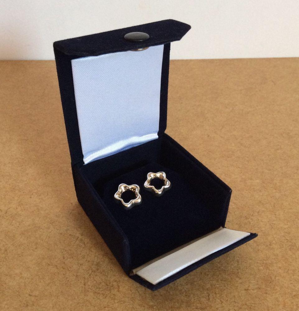 NAVY BLUE VELVET Jewelry Box Travel Case Earrings Storage Jewelry