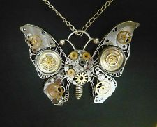 *** HANDMADE STEAMPUNK UNIQUE Vintage Butterfly Pendant With Watch Parts & Gears