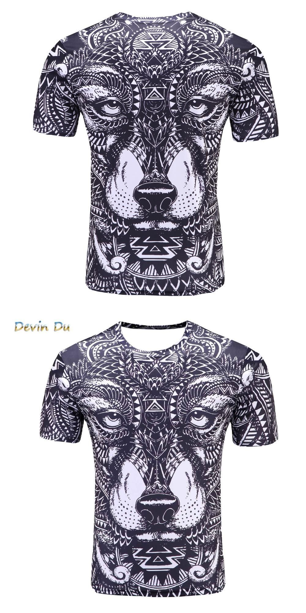 22bea43e98868 2017 new Compression Shirt listing Men s Wolf Totem printing Fitness T-shirt  Quick-drying short-sleeved Tights Male Crossfit