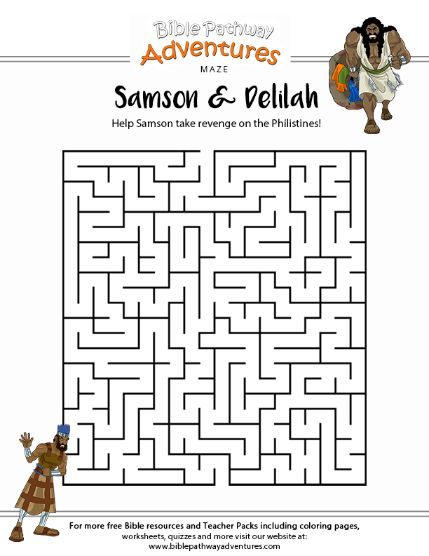 Printable Samson maze for Kids   pages to use for church   Sunday ...