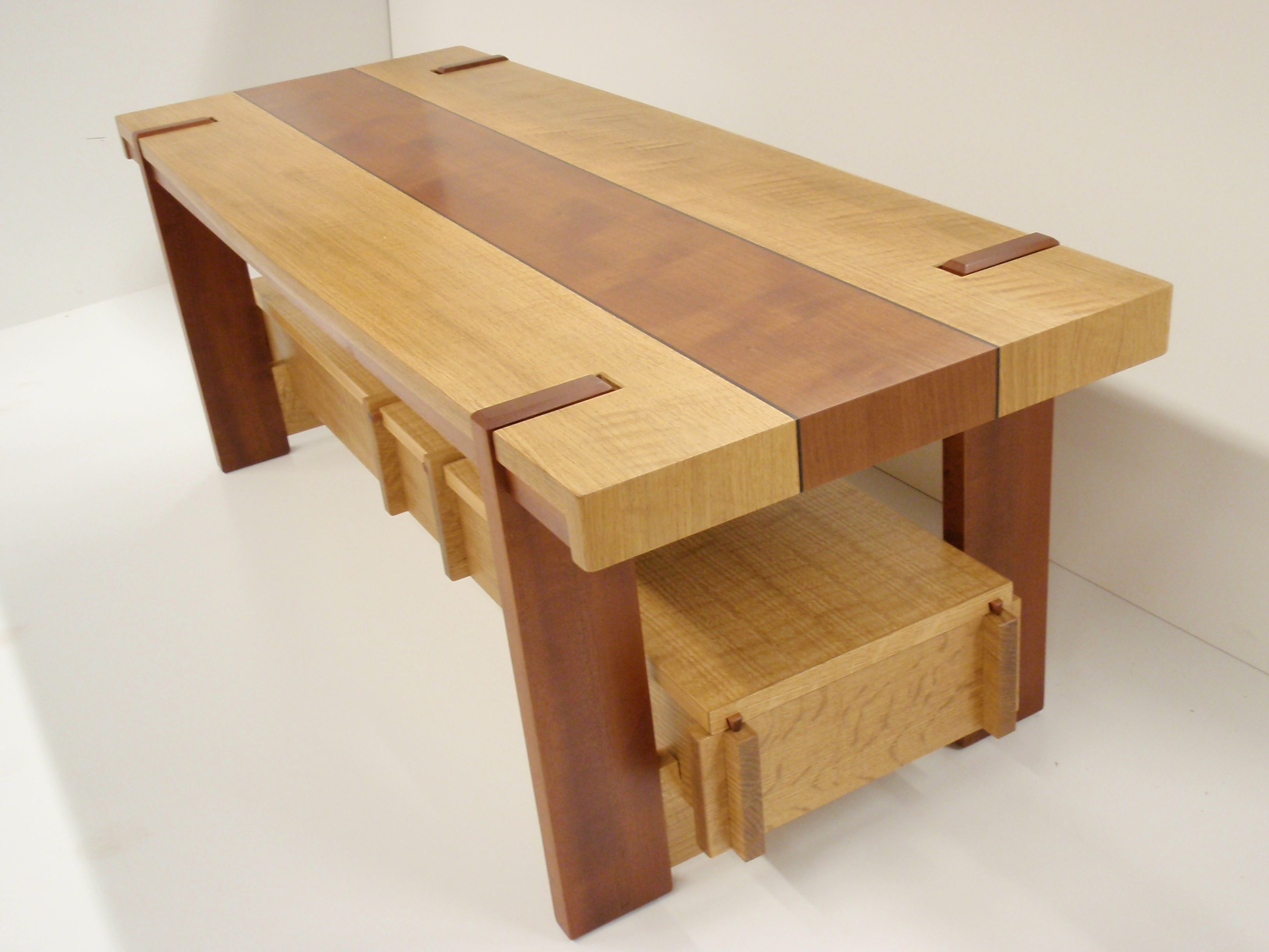 cofee table in white oak and unknown secies with ebony