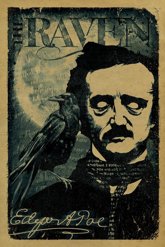 The Raven by Edgar A Poe poster. 12x18. Kraft door UncleGertrudes