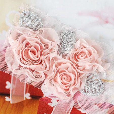 Triple flower chiffon Corsage  Pink by prettyribbon on Etsy, $4.37
