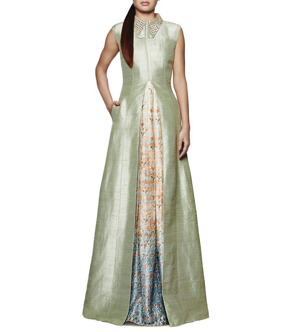 Sage #Green Gota Patti Raw #Silk Avisha #Jacket and Paheli #Gown by ...