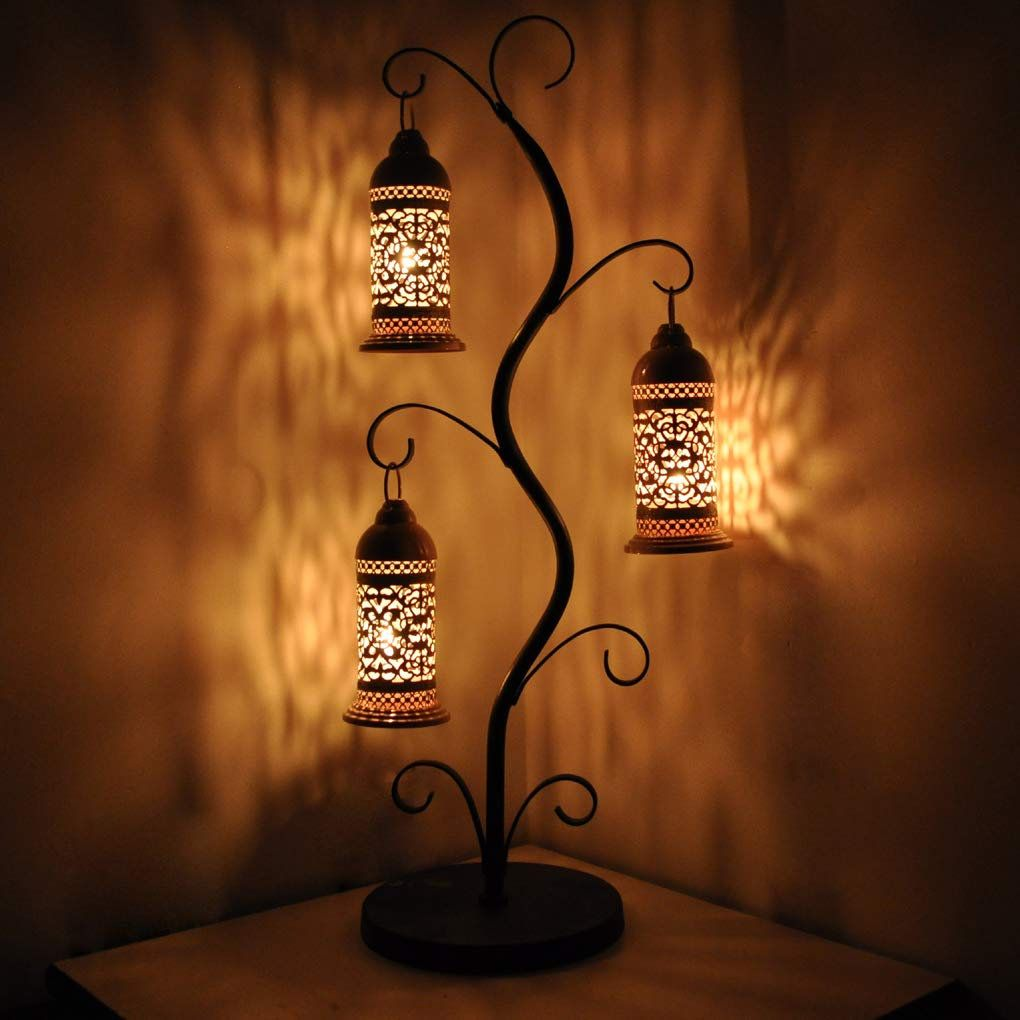 Decorative Table Lamp Moroccan Tea Light Candle Holders Set With